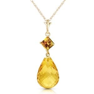 14K. SOLID GOLD NECKLACE WITH NATURAL CITRINES